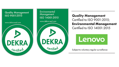 Lenovo certified to ISO 9001 & ISO 14001 by DEKRA