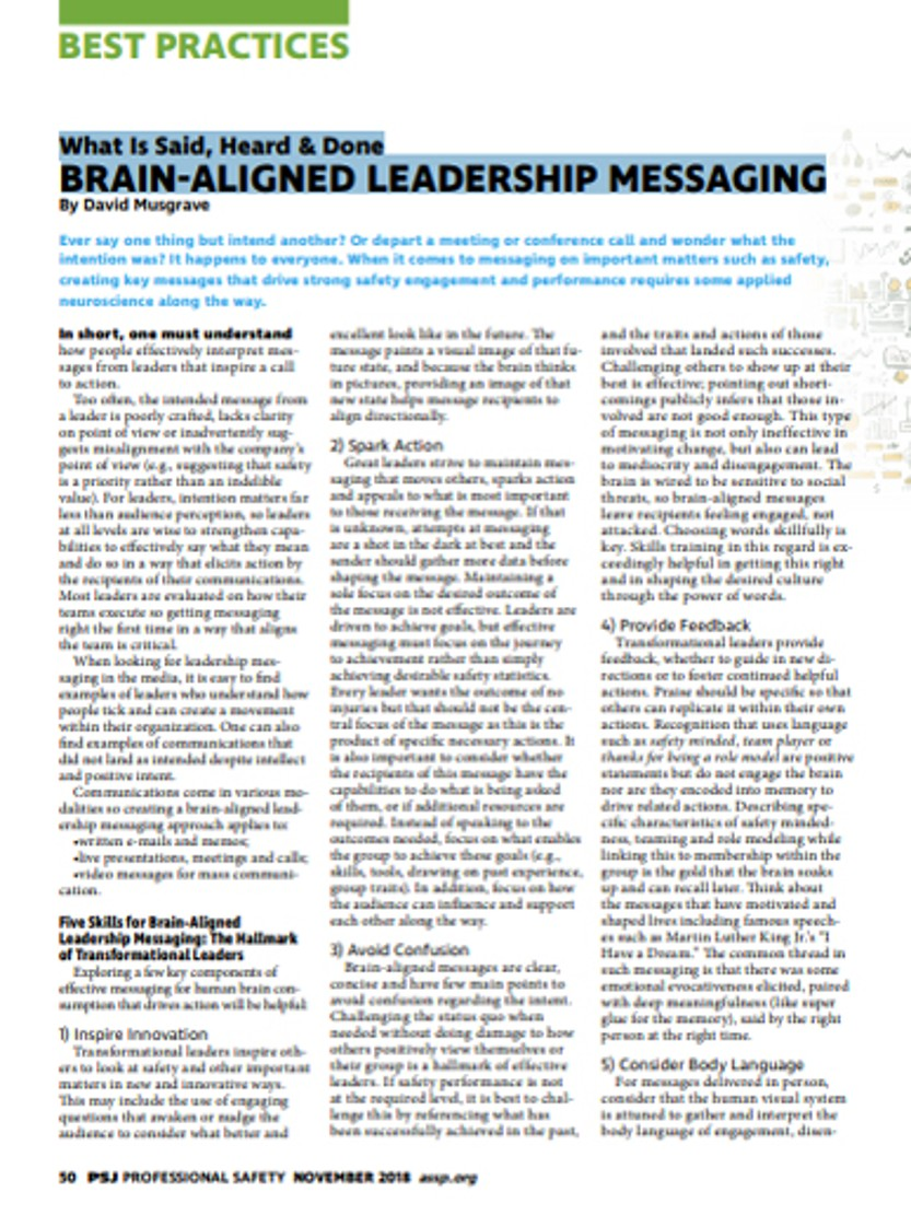 What Is Said, Heard & Done BRAIN-ALIGNED LEADERSHIP MESSAGING