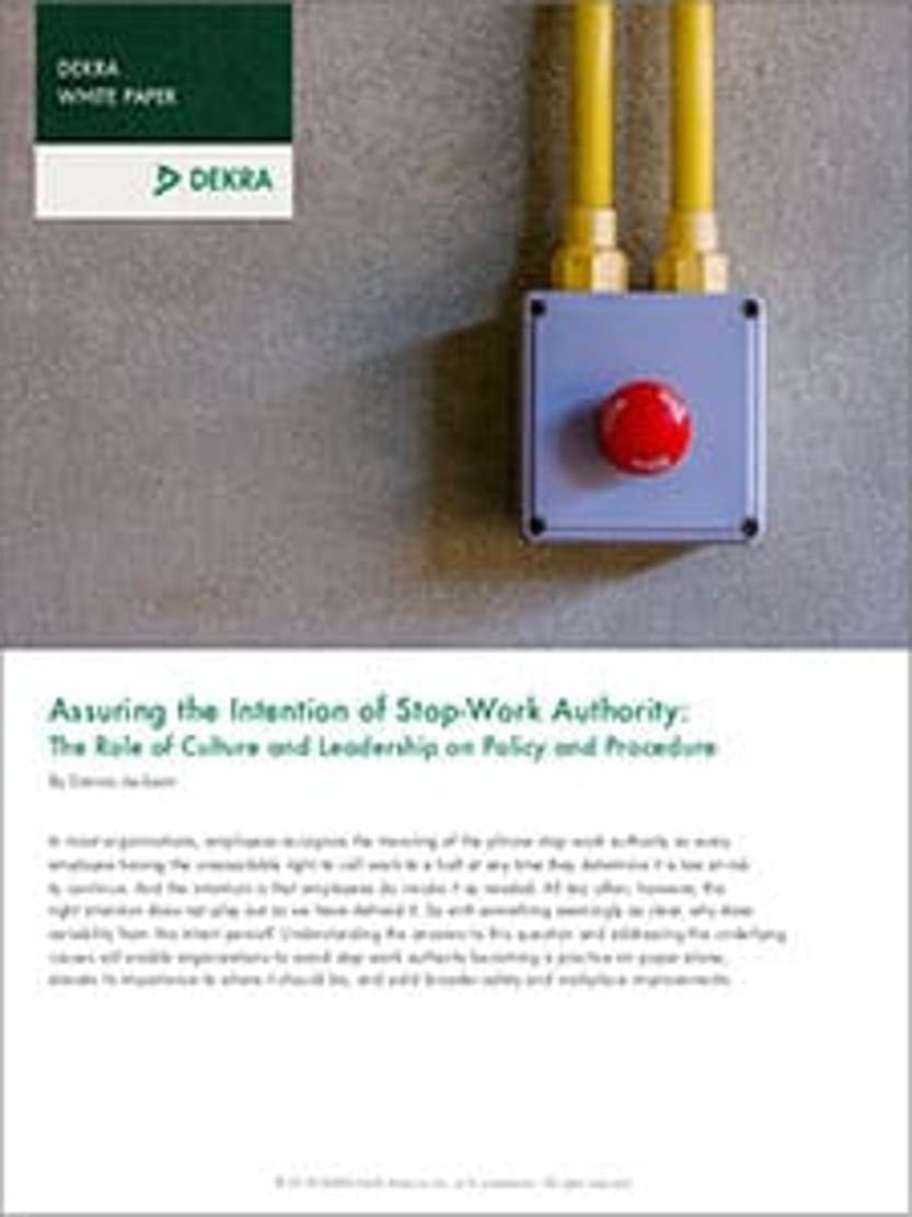 Assuring the Intention of Stop-Work Authority: The Role of Culture and Leadership on Policy and Procedure
